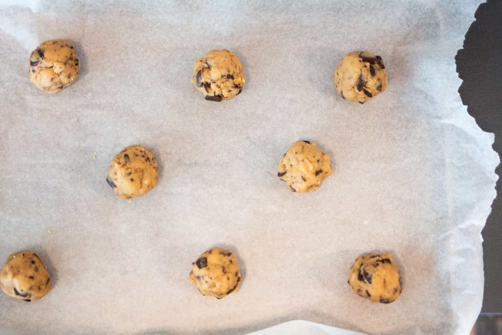 Cookie dough ready to be baked.